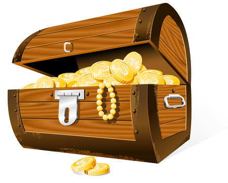 Opened Treasure Chest  isolated on the white Vector