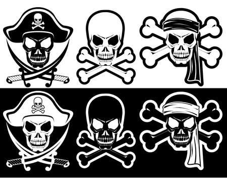 Jolly Roger, Pirate attributes, Skull and Crossbones silhouette Stock Vector - 7176974