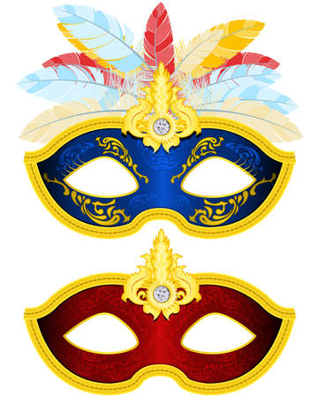 carnival mask: Two Masquerade Mask with feather in different colors