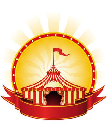 entertainment tent: Cartel de publicidad con banners y gran carpa de circo