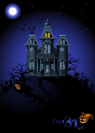 manor: Halloween Haunted House Illustration