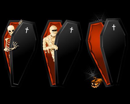 halloween poster: Poster di Halloween con Coffin e skeleton all'interno Vettoriali