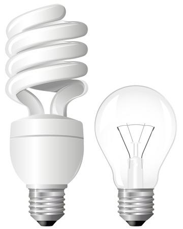 fluorescent light: Two Light Bulbs Illustration