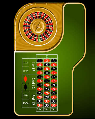 European casino roulette table layout Directly Above Vector