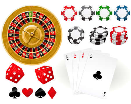 Playing cards, Roulette Wheel and gambling chips