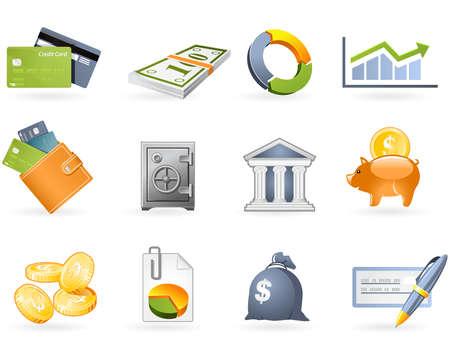edificio banco: Conjunto de iconos de banca y finanzas  Vectores