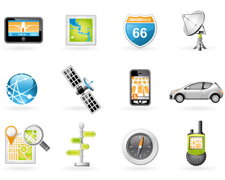 gps navigation: GPS and Navigation Icon Set