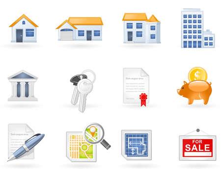deed: Conjunto de iconos de Real Estate