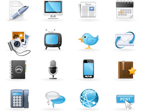 internet icon: Communication channels and Social Media icon set