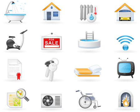 heater: Real Estate and Accommodation amenities icon set  Illustration