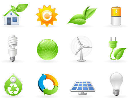 Ecologie en alternatieve energie icon set   Stock Illustratie