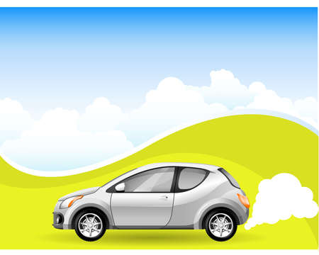 clean sky: Alternative Energy car on the Cloudscape background