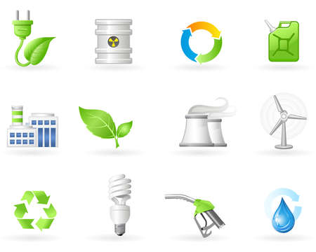 conservation: Air Pollution and Green Energy icon set Illustration