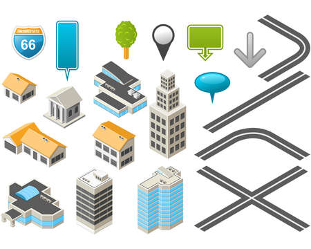 office building exterior: Map toolkit with Isometric Buildings and Roads  Illustration