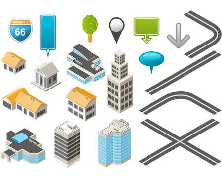 isom�trique: Trousse de carte avec les b�timents isom�trique et des routes