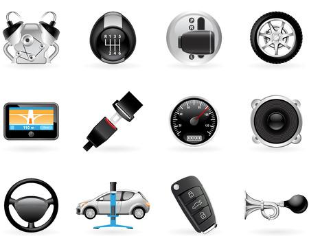 remote lock: Conjunto de iconos de opciones, accesorios y caracter�sticas de coche