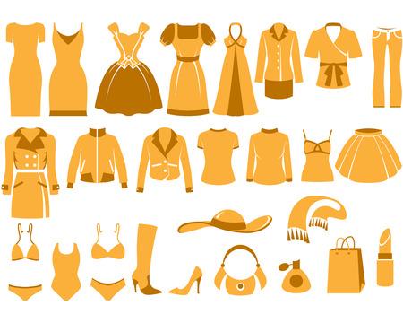blusa: Ropa de mujer, conjunto de iconos de moda y accesorios