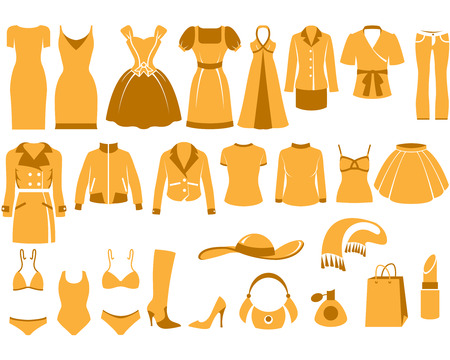 womans: Womans clothes, Fashion and Accessory icon set