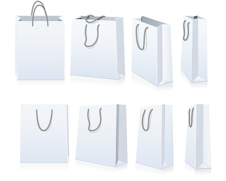 white paper bag: Set of shopping bags