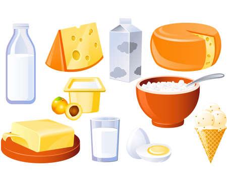 verre de lait: Fromage, de lait, de beurre et de produits laitiers et la volaille Illustration