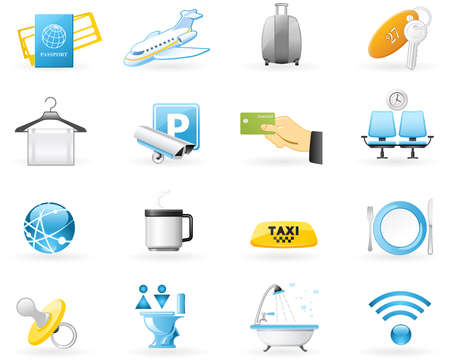 Icon set - airport services for travellers
