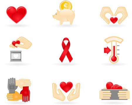 Donation and charity icons Illustration