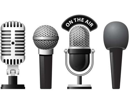 microfono radio: Conjunto de micr�fonos retro y modernos en diferentes estilos