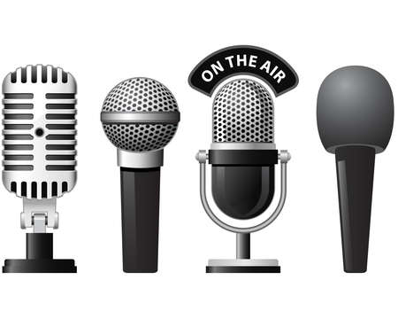 broadcasting: Set of retro and modern microphones in different styles
