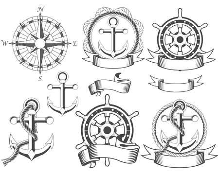 roer: Nautische emblemen met verschillende maritieme ontwerp elementen Stock Illustratie