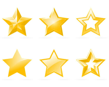 gold stars: Set of shiny star icons in different style Illustration