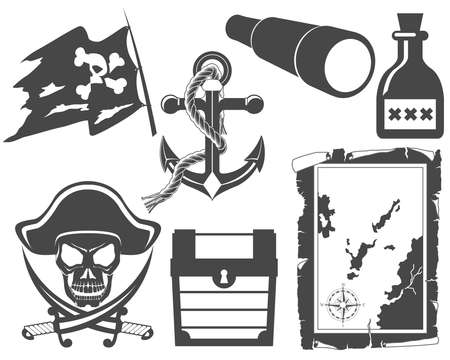 Pirate black and white icon set Vector