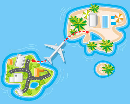 Flight to sea resort from noisy city Stock Vector - 8938132
