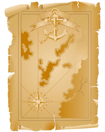 Old pirate map with anchor and ribbon Vector
