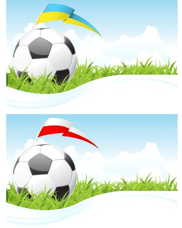 Soccer cloudscape background with ball and flag Vector