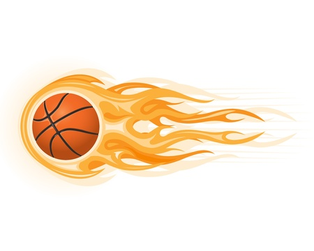 ballon basketball: Ballon de basket en flamme