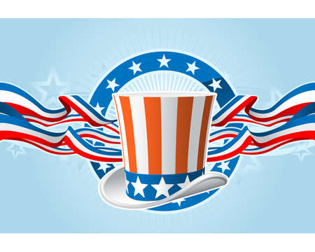 uncle sam hat: Fourth of july emblem with Uncle Sam top hat and ribbons