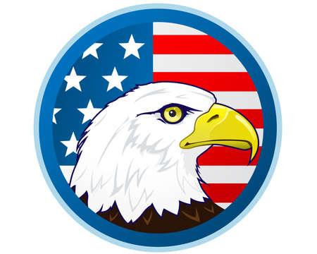 bald head: Bald eagle and American flag Illustration