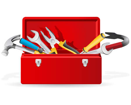 tool box: Red toolbox with tools Illustration
