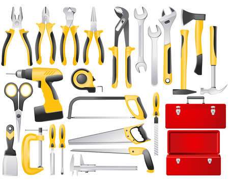 toolbox: hand work tools set
