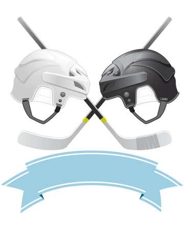 hockey sobre hielo: Emblema de hockey sobre hielo con cascos y palos