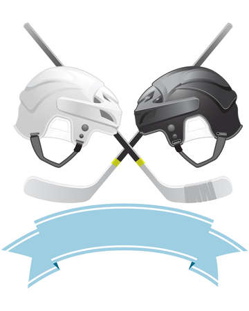 hockey stick: Ice Hockey emblem with helmets and sticks
