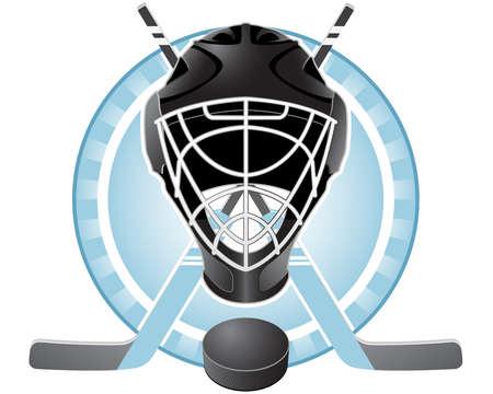 Emblem with goaltender helmet, hockey sticks and puck Stock Vector - 9716886