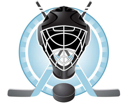 Emblem with goaltender helmet, hockey sticks and puck Illustration