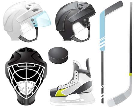 hockey sobre hielo: Casco de portero, palos de hockey, skate y puck Vectores