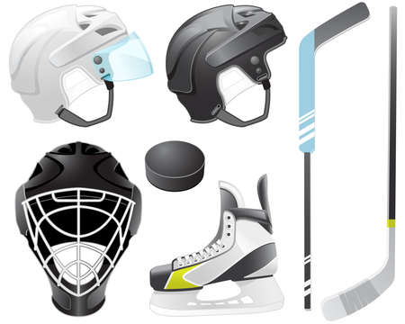 Goaltender helm, hockey sticks, skate en puck