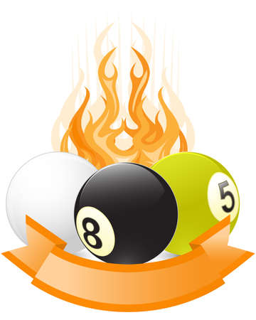 eight ball: Billiard ball emblem  in flame with ribbon