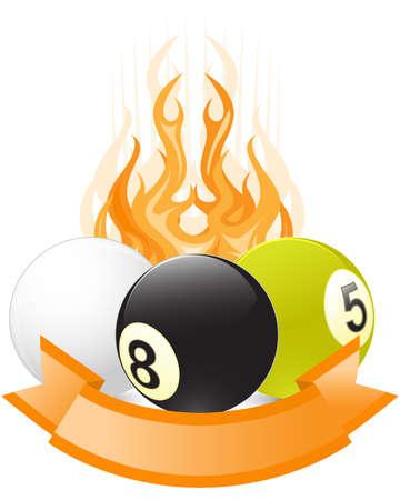 billiards: Billiard ball emblem  in flame with ribbon