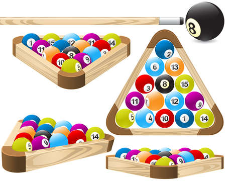 cue ball: Billiard balls in pool rack in different positions