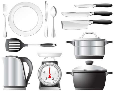 kettles: Utensilios de cocina ollas, cuchillos y otros utensilios en la cocina Vectores