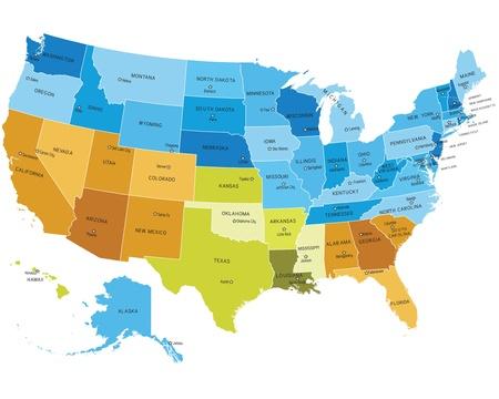 spojené státy americké: Mapa USA uvádí se jmény měst